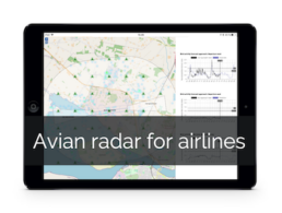 Tablet showing AscendXYZ Avian Radar user interface in mobile view for airlines